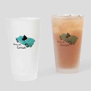 Driving with Catitude Drinking Glass