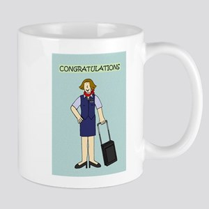 Congratulations to flight attendant. Mugs
