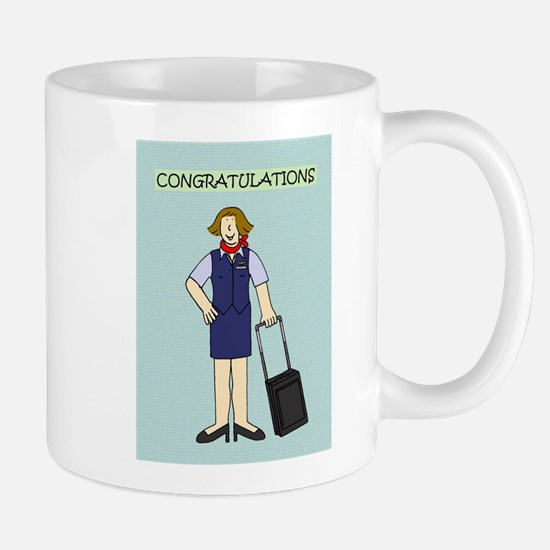Congratulations to flight attendant. Mugs