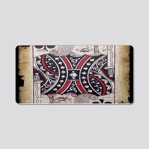 distressed poker king card Aluminum License Plate