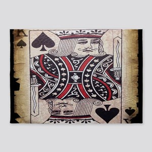 distressed poker king card 5'x7'Area Rug