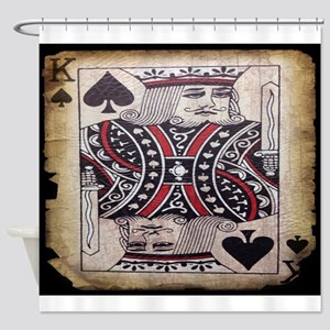 distressed poker king card Shower Curtain