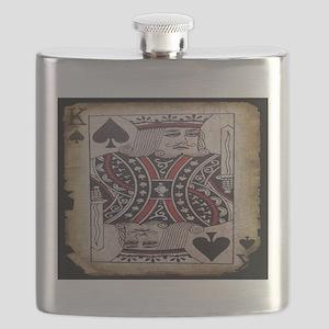 distressed poker king card Flask
