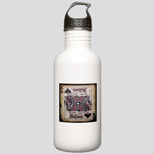distressed poker king card Water Bottle