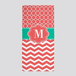 Teal Coral Chevron Quatrefoil Monogram Beach Towel
