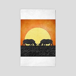 African Rhinos 3'x5' Area Rug