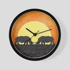 African Rhinos Wall Clock