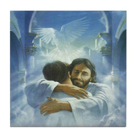 JESUS - HUG OF HEALING Tile Coaster