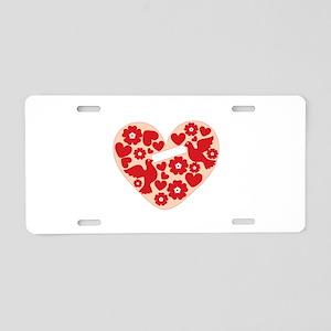 Floral Heart Aluminum License Plate