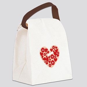 Floral Heart Canvas Lunch Bag