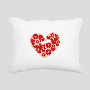 Floral Heart Rectangular Canvas Pillow