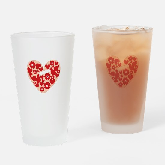 Floral Heart Drinking Glass