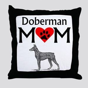 Doberman Mom Throw Pillow
