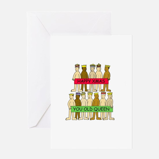 Naked men wearing crowns, Xmas Quee Greeting Cards