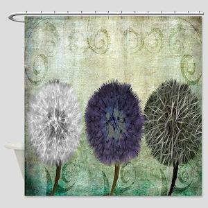 Digital Study of Dandelions Shower Curtain
