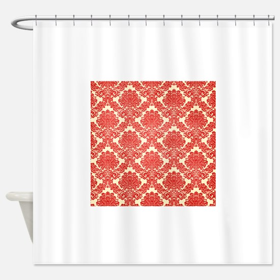 Golden Stripe Vintage Damask Shower Curtain By DecorativeDesigns White Red Curtains
