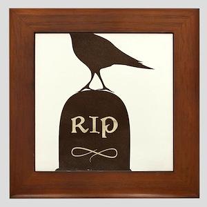 Black Crow RIP Cemetery Headstone Framed Tile
