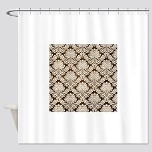 Trendy Vintage brown cream damask Shower Curtain