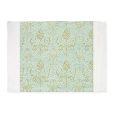 Pastel Vintage Blue Green Floral Damask 5 X7 Area By