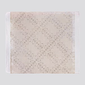 Ivory Antique Victorian Ornamental Pattern Throw B