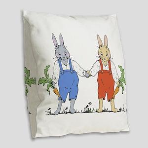 Bunny Twins Burlap Throw Pillow