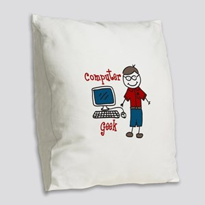 Computer Geek Burlap Throw Pillow