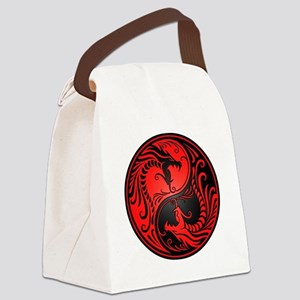 Red and Black Yin Yang Dragons Canvas Lunch Bag