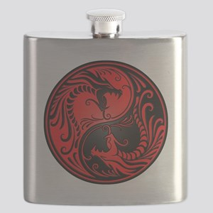 Red and Black Yin Yang Dragons Flask