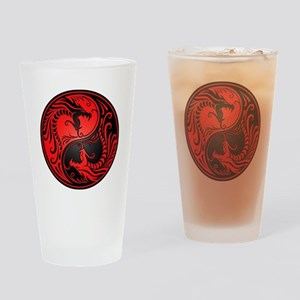 Red and Black Yin Yang Dragons Drinking Glass