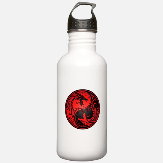 Red And Black Yin Yang Water Bottle