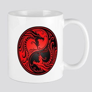 Red and Black Yin Yang Dragons Mugs