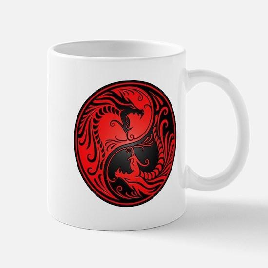 Red and Black Yin Yang Dragons Mugs