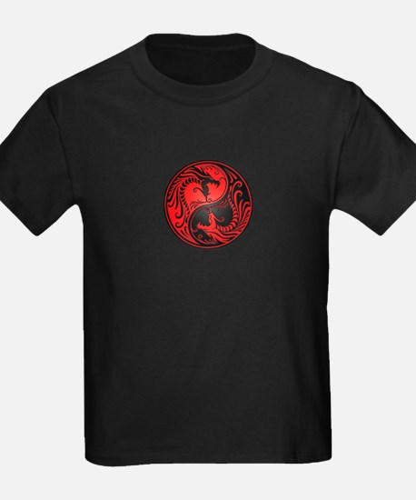 Red and Black Yin Yang Dragons T-Shirt