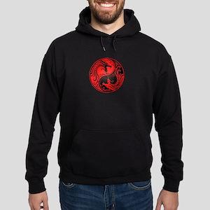 Red and Black Yin Yang Dragons Hoodie