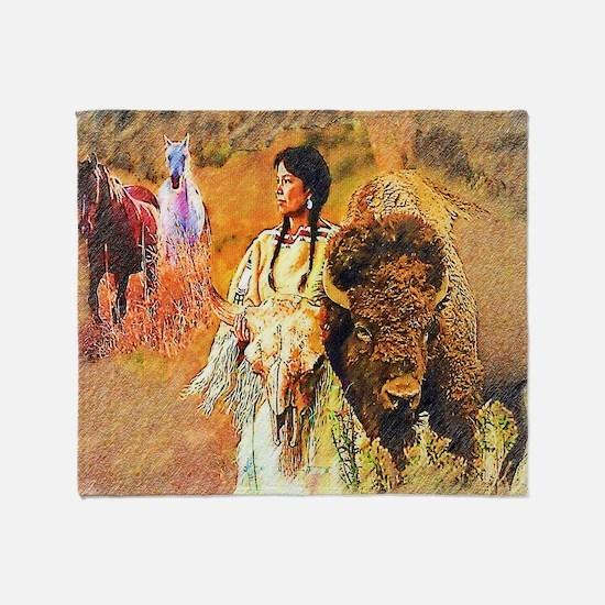 Buffalo Woman Throw Blanket