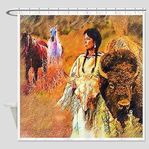 Buffalo Woman Shower Curtain