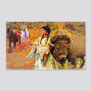 Buffalo Woman 3'x5' Area Rug
