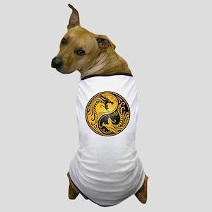 Yellow and Black Yin Yang Dragons Dog T-Shirt