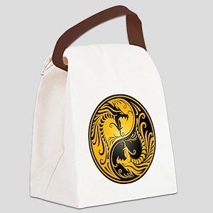 Yellow and Black Yin Yang Dragons Canvas Lunch Bag