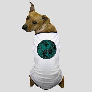 Teal Blue and Black Yin Yang Dragons Dog T-Shirt