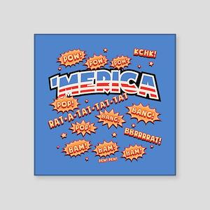 """Bam! 'Merica Pow! Square Sticker 3"""" x 3"""""""
