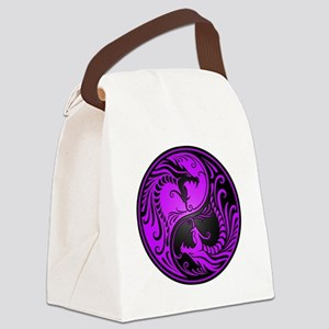Purple and Black Yin Yang Dragons Canvas Lunch Bag