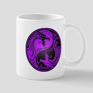 Purple and Black Yin Yang Dragons Mugs