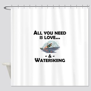 Love And Waterskiing Shower Curtain