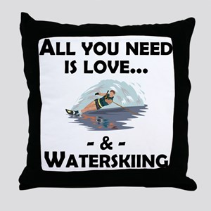 Love And Waterskiing Throw Pillow