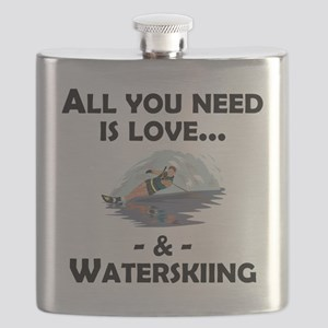 Love And Waterskiing Flask