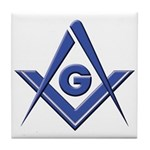 Modern Blue Lodge S&C Tile Coaster