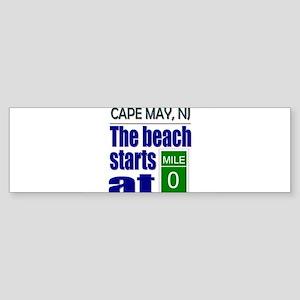 Beach Starts at Mile 0 Bumper Sticker