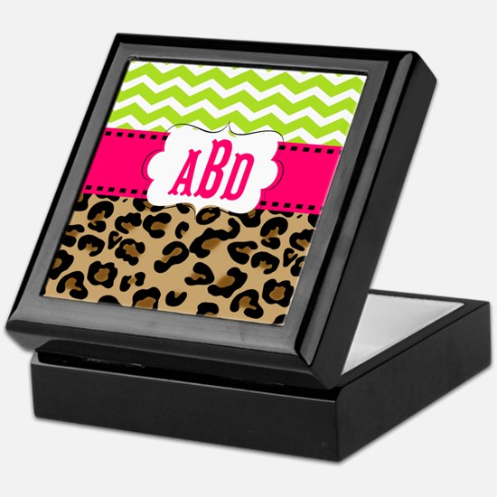 Pink Green Chevron Leopard Monogram Keepsake Box