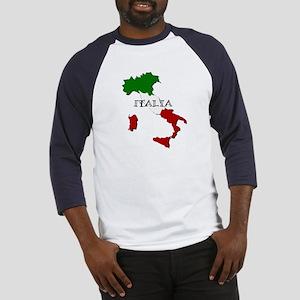 Italy Flag Map Baseball Tee